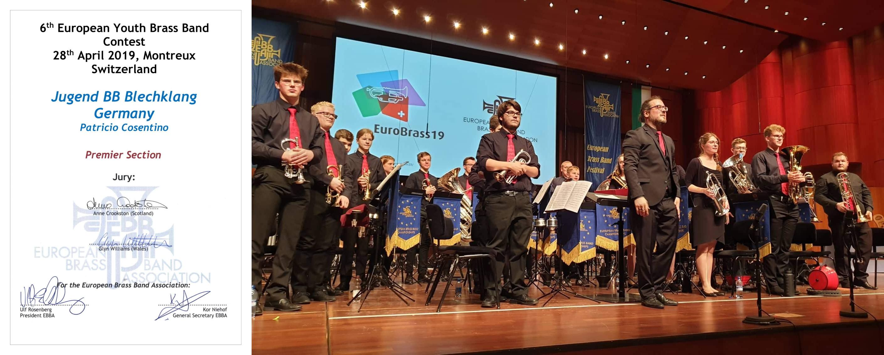Jugend Brass Band BlechKLANG Montreux Meisterschaft Urkunde